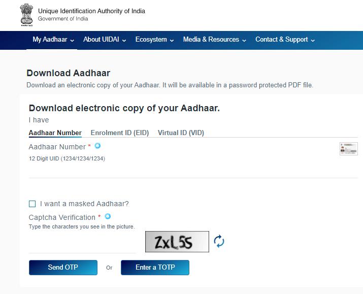 aadhar card downloading