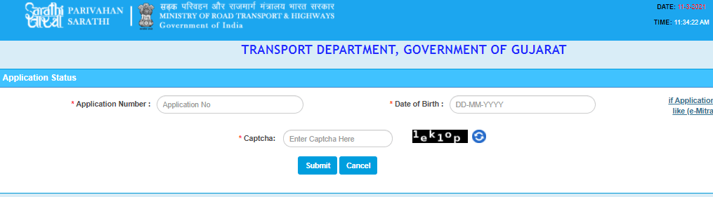 driving licence application status