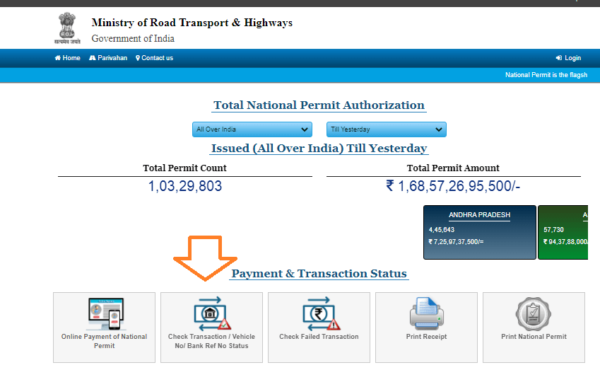 national permit payment status