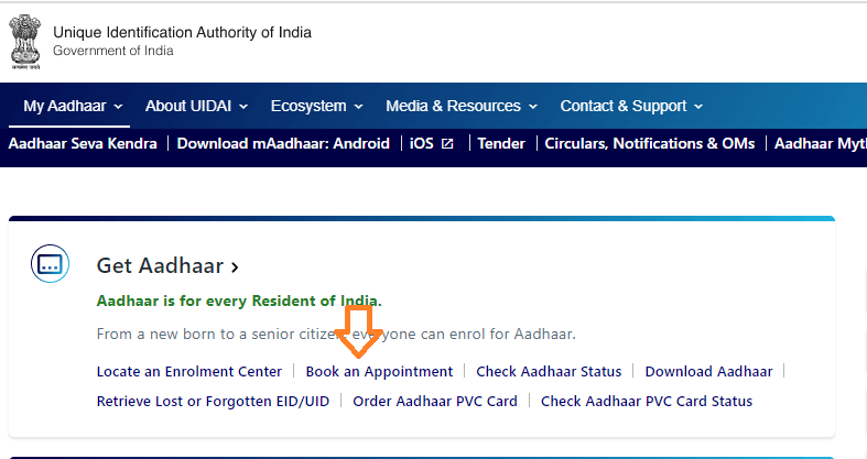book appointment aadhar card