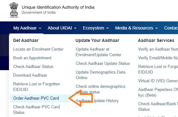 order pvc aadhar card