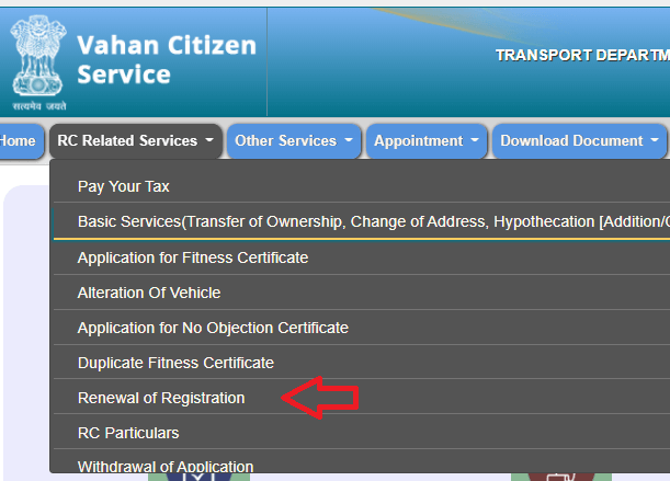 renewal of registration certificate of vehicle
