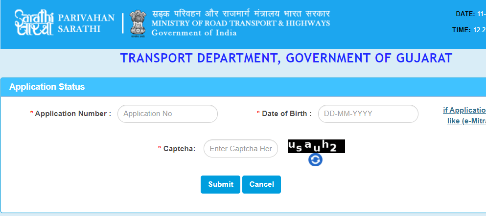 check driving licence application status