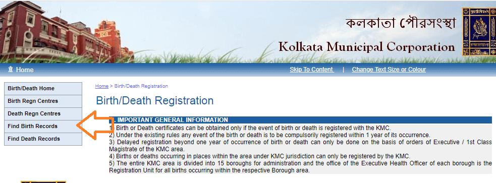 find birth certificate kolkata municipal