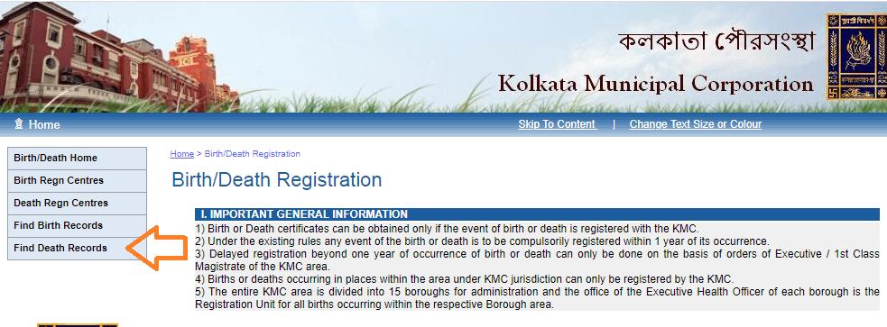 death certificate kolkata