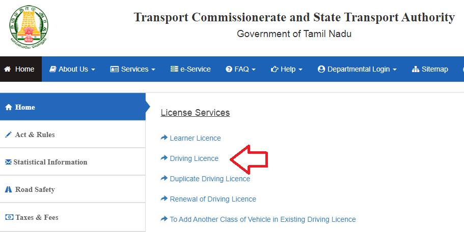 Chennai driving licence status