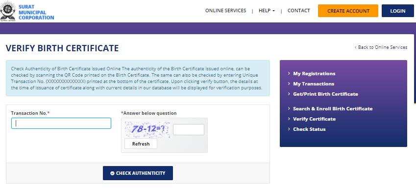 verify birth certificate surat
